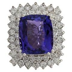 12.40 Carat Tanzanite 18 Karat White Gold Diamond Ring