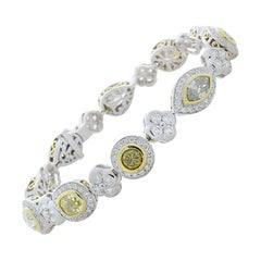 12.40 Carat Total Natural Fancy Yellow Diamond and White Diamond Bracelet