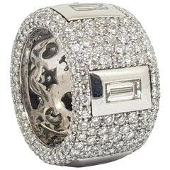 12.40 Carat White Gold Diamond Memory Ring