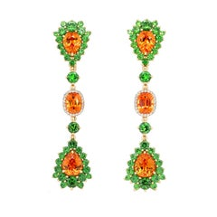 12.41 Carat Spessartine Demantoid with Diamond 18 Karat Gold Drop Earrings