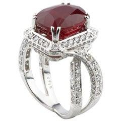 12.43 Carat Ruby and Diamond 18 Karat White Gold Cocktail Ring AIG Certified