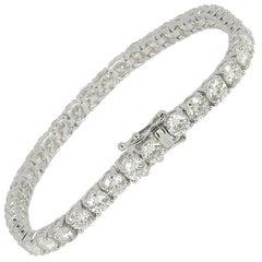 12.44 Carat Round White Diamond Tennis Bracelet 18K White Gold / Line Bracelet
