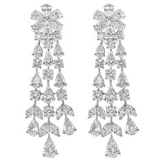 12.45 Carat Diamond Floral Motif Drop Earrings