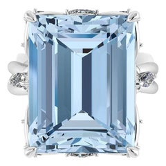 12.45 Carat Emerald Cut Aquamarine Platinum Cocktail Ring