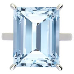 14.06 Carat Emerald Cut Aquamarine Platinum Cocktail Ring