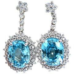 12.46ct Natural Bright vivid indigo blue zircon diamond earrings 14kt edwardian