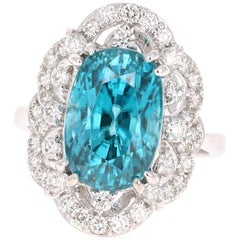 12.47 Carat Blue Zircon Diamond 14 Karat White Gold Ring