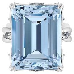 12.47 Carat Emerald Cut Aquamarine Platinum Cocktail Ring