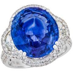12.47 Carat Sri Lanka Sapphire GRS Certified, Unheated Ceylon Ring, Oval Cut