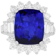 12.48 Carat Cushion Cut Tanzanite and White Diamond Ring