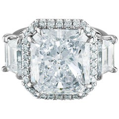 12.48 Carat Platinum Ring, Center, Radiant Cut 10.11 K SI, GIA Certified Diamond