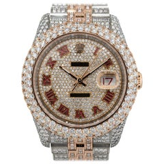 12.49 Carat Rolex 116201 Datejust Two-Tone Diamond Pave Watch