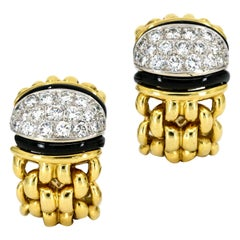 1.25 Carat 18 Karat Yellow Gold Onyx Diamond Earrings