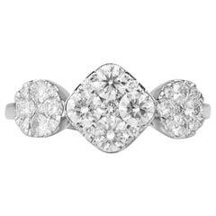 1.25 Carat 3 Station Certified Diamond Ring 14 Karat White Gold