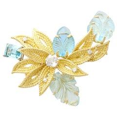 12.5 Carat Aquamarine Diamond Yellow Gold Brooch