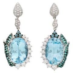 12.5 Carat Aquamarine Earrings in 18 Karat Gold with Paraiba and Alexandrite