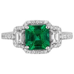 1.25 Carat Asscher Cut Columbian Emerald Diamond Three-Stone Pave Ring