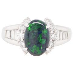 1.25 Carat Black Opal and Diamond Engagement Ring Set in Platinum