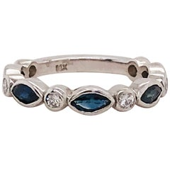 Sapphire Diamond Ring, 1.25 Carat Blue Sapphire Diamond Band, Marquise, Round