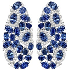 12.5 Carat Blue Sapphire Diamond 18 Karat Gold Fluid Earrings