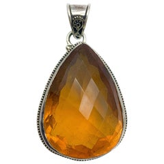125 Carat Citrine & Sterling Silver Pendant Hand Made in Bali