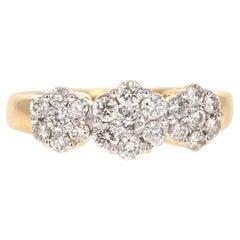 1.25 Carat Diamond 14 Karat Yellow Gold Cluster Ring