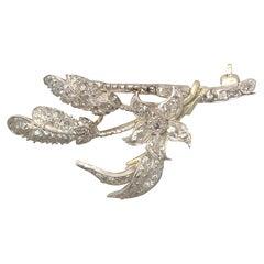 1.25 Carat Diamond and 9 Karat Yellow Gold, Silver Set Brooch, Antique Victorian
