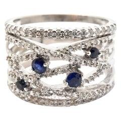 1.25 Carat Diamond and Blue Sapphire Band 14 Karat White Gold
