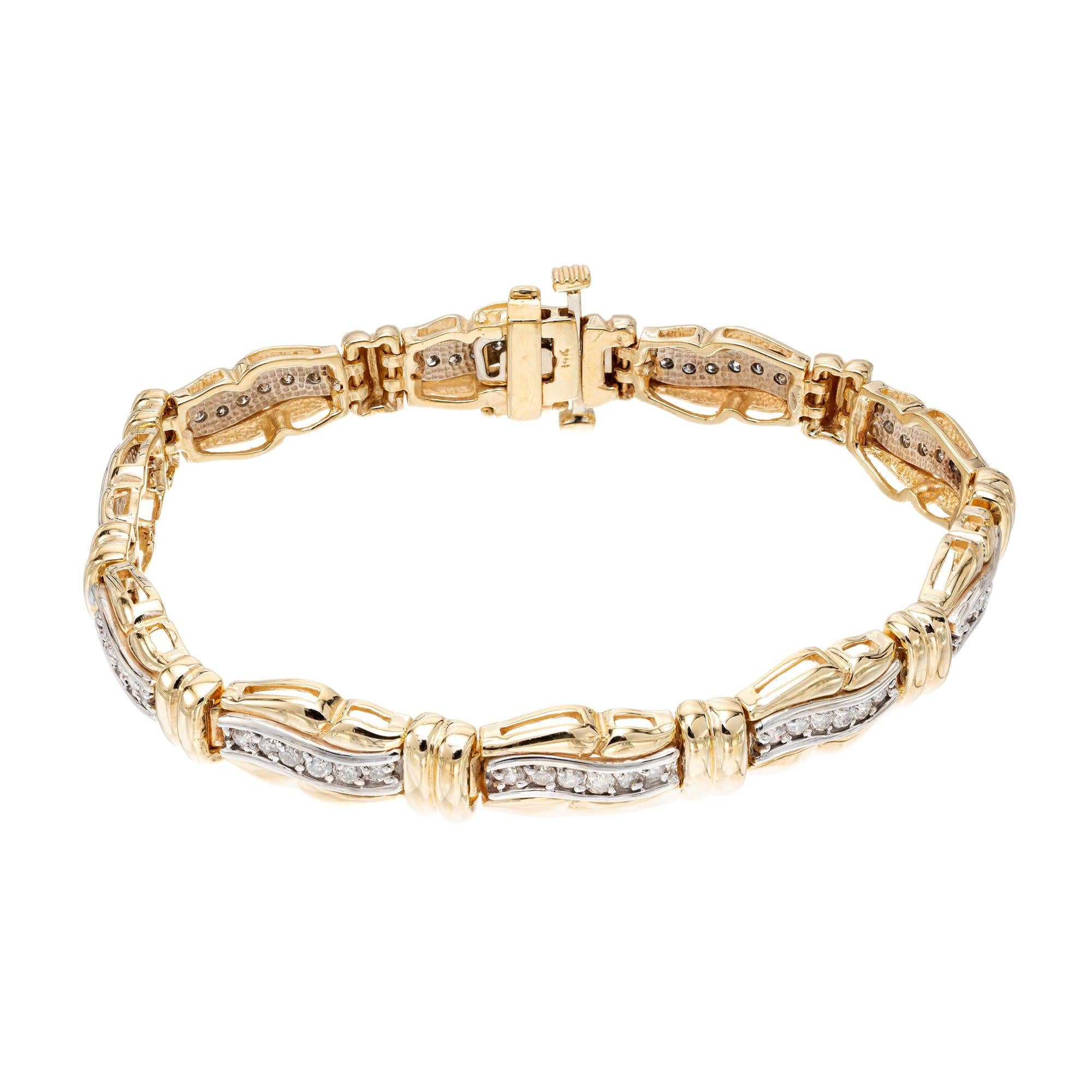 1.25 Carat Diamond Gold Hinged Swirl Link Bracelet