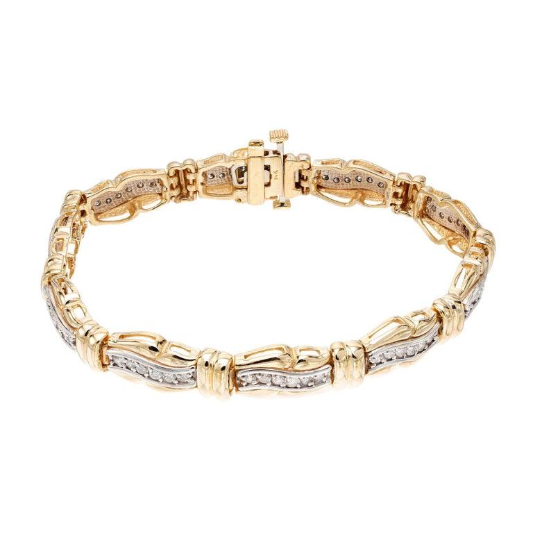 1.25 Carat Diamond Gold Hinged Swirl Link Bracelet For Sale