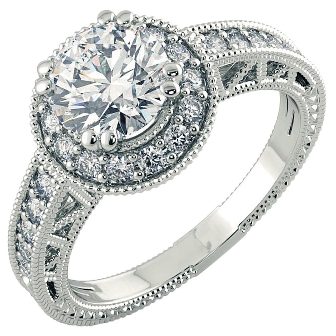 1.25 Carat Diamond Halo Engagement Ring with Decorative Band 14K White Gold