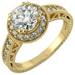 1.25 Carat Diamond Halo Ring with Decorative Band 14 Karat Yellow Gold