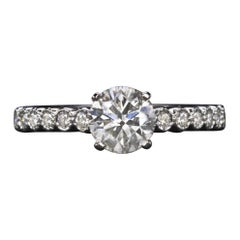 1.25 Carat Diamond Round Brilliant Cut Engagement Ring White Gold 1 Carat