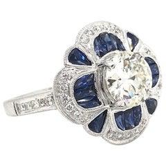 1.25 Carat Diamond and Sapphire Ring
