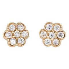 1.25 Carat Diamond Stud Earrings Cluster Estate 14 Karat Gold Flower Vintage