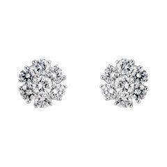 1.25 Carat Diamond White Gold Flower Stud Earrings