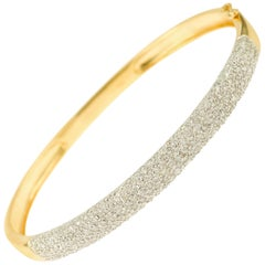 1.25 Carat Diamonds Pave 18 Karat Yellow Gold Bangle Bracelet