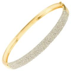 1.25 Carat Diamonds Pave 18 Karat Yellow Gold Bangle Bracelet