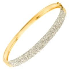 1.25 Carat Diamonds Paved 18 Karat Yellow Gold Bangle Bracelet