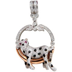 1.25 Carat Diamonds Resting Panther Circle Pendant 18 Karat Enamel