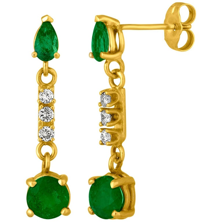 1.25 Carat Emerald and Diamond Gold Drop Earrings