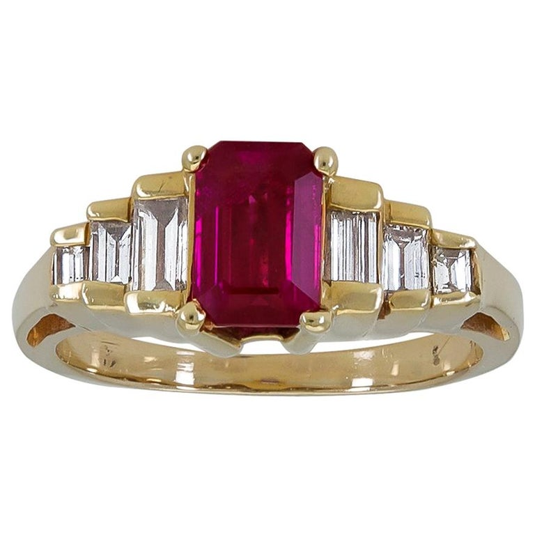 1.25 Carat Emerald Cut Ruby and Diamond Side-Stone Engagement Ring For Sale