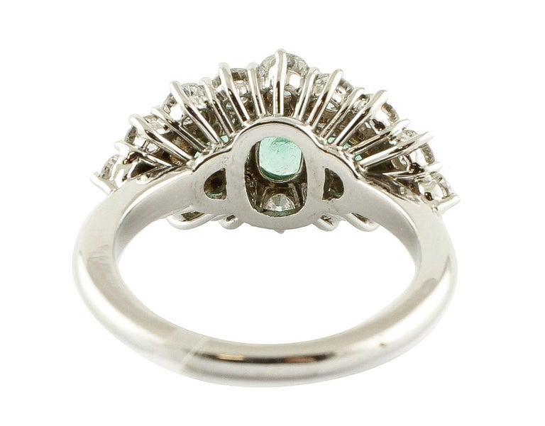 Retro 1.25 Carat Emeralds 1.72 Carat White Diamonds White Gold Ring For Sale