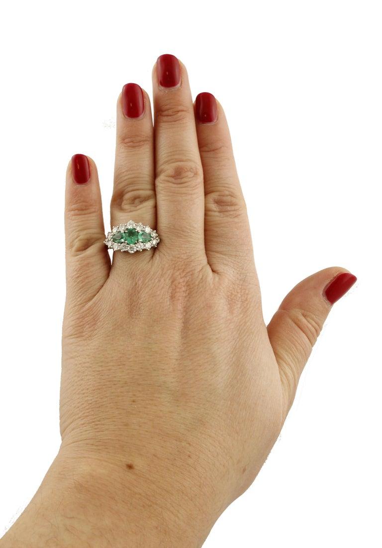 1.25 Carat Emeralds 1.72 Carat White Diamonds White Gold Ring For Sale 2