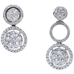 1.25 Carat Fancy Changeable Cluster Drop Halo 18 Karat Gold Diamond Earrings