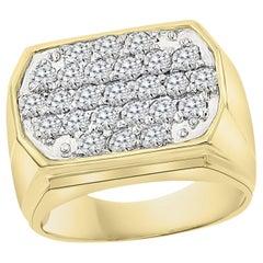 1.25 Carat Ice Diamond Traditional Men's Ring 14 Karat Yellow Gold Ring Estate