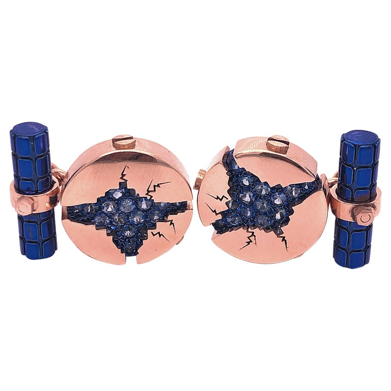1.25 Carat Natural Blue Sapphire Oxydized Navy Blue Rose Gold Cufflinks For Sale