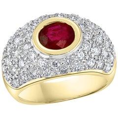 1.25 Carat Natural Burma Ruby and Diamond 18 Karat Yellow Gold Ring