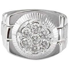 1.25 Carat Natural Diamond 14 Karat Solid White Gold Men's Ring