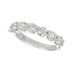 1.25 Carat Natural Diamond 7 Stone Ring G SI 14 Karat White Gold